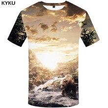 07cc94922 KYKU Urso Homens Tshirt Animal T Shirt Legal Hip Hop Tee Água Da Montanha 3d  T