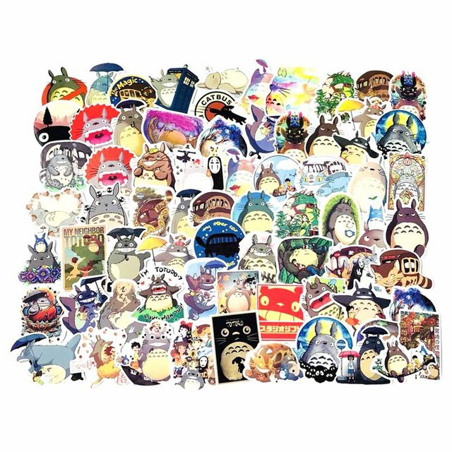 70pcs Totoro Doodle Cartoon Skateboard Suitcases Guitar Car Bike Laptop Vinyl Stickers PVC Waterproof Sticker Decal