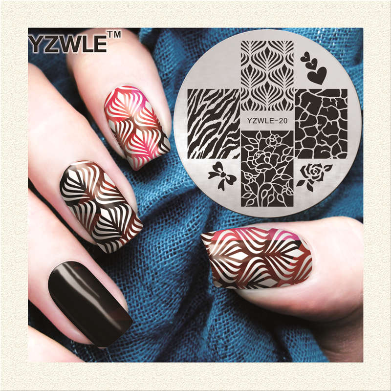 2018 New Arrival YZWLE Manicure Template Nail Stamping Plates Leopard Flower Designs Image Transfer Print