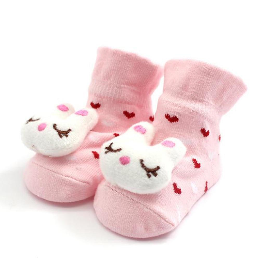 1PAIR Cartoon Newborn Baby Girls Boys Anti-Slip Socks Slipper Bell Shoes Boots