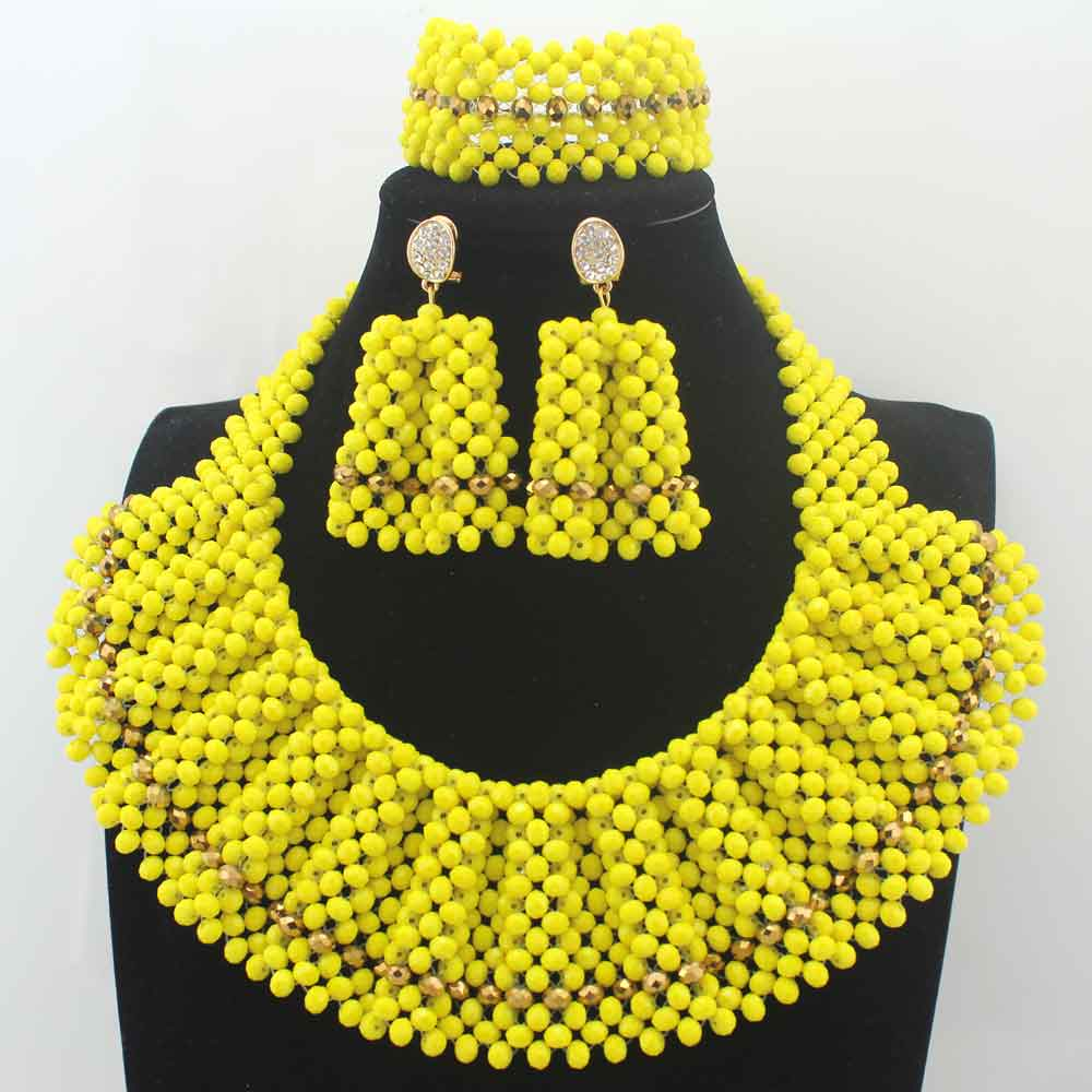 Yellow/Bronze Chunky Bib Women African Jewelry Sets Handmade Crystal Beaded Bridal Necklace Set New Year Gift Free Ship LK0030Yellow/Bronze Chunky Bib Women African Jewelry Sets Handmade Crystal Beaded Bridal Necklace Set New Year Gift Free Ship LK0030