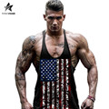 2017 New Arrival Tank Top Men Bodybuilding and Fitness Stringer American Flag Print Mens Singlets Top Shirts Brand Clothes LW370