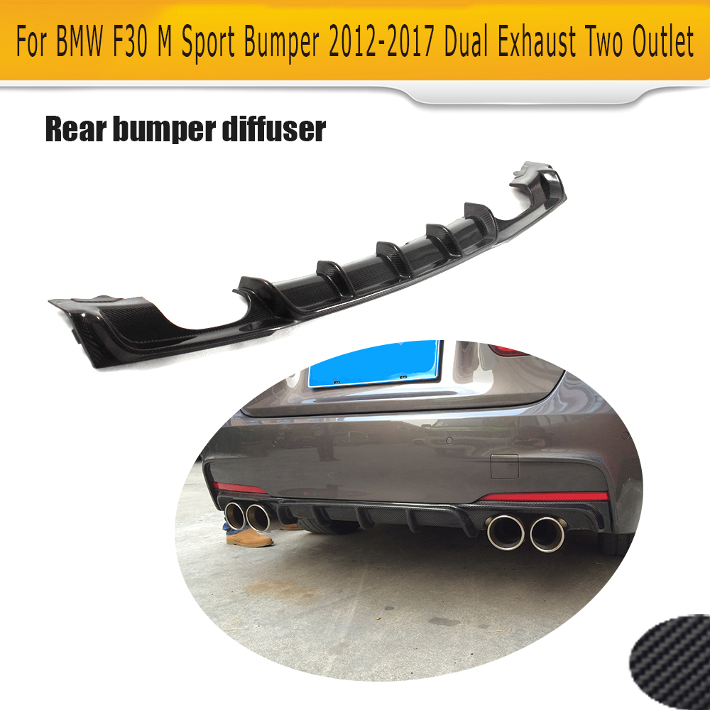Carbon Fiber Auto Rear Diffuser spoiler Lip for BMW 3 Series F30 M Sport Bumper 12-17 dual exhaust two outlet Black FRP