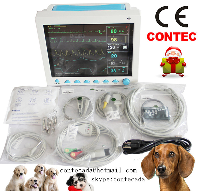 CE FDA Contec CMS8000 Vet Multi-parameter Veterinary Patient Monitor for Animals abpm50 ce fda approved 24 hours patient monitor ambulatory automatic blood pressure nibp holter with usb cable