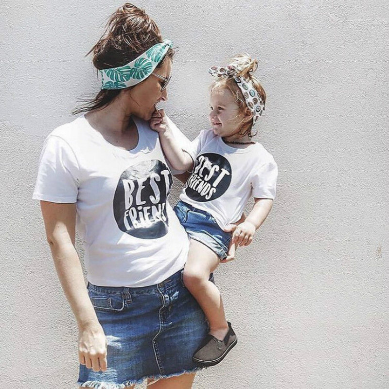 Семья летняя футболка для мамы и дочки сына Best друг печати Футболки для девочек для маленьких девочек Женский подходящая одежда для всей се... ...