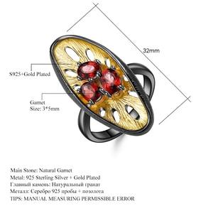 Image 5 - Gems Ba Lê Bạc 925 Đá Quý Vòng 1.54Ct Tự Nhiên Đá Garnet Đỏ Ban Đầu Tay Chanh Ngón Tay Cho Nữ, Nhẫn Nữ