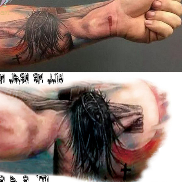 Yeeech Tatuajes Temporales Pegatina Wateproof Jesucristo En La Cruz