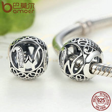 925 Sterling Silver Vintage A to Z, Clear CZ 26 Letter Alphabet Bead Charms Fit Bracelets & Bangles Jewelry