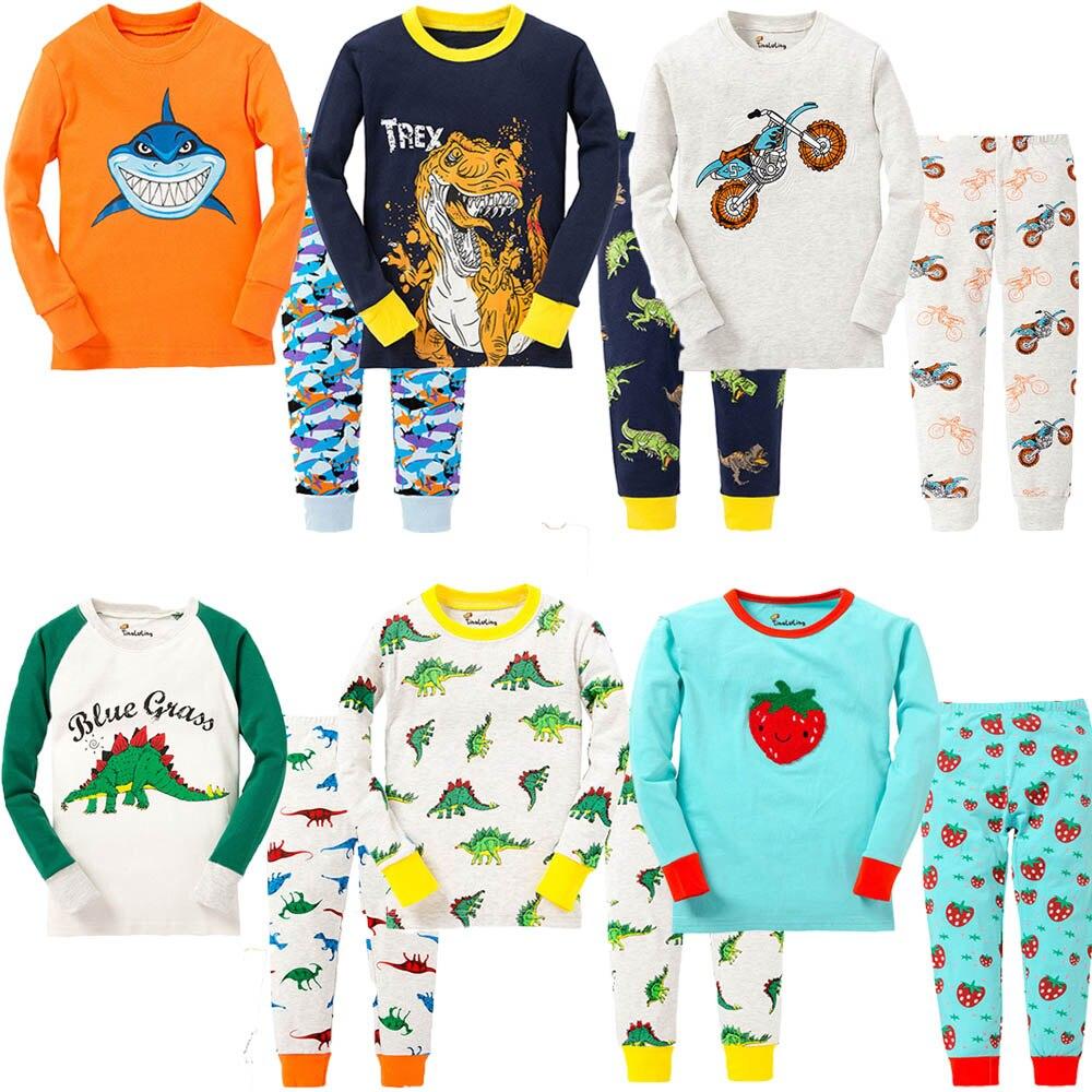 d08c6a136395 Kids Boy Winter Pyjamas Children Dinosaur Pijamas Cartoon Robot ...
