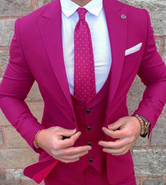 Groom Wedding Suit Purple / Green / Dark Green / Green Men's Suit Best Wedding Men's Suit Three-piece Suit (jacket + Pants)