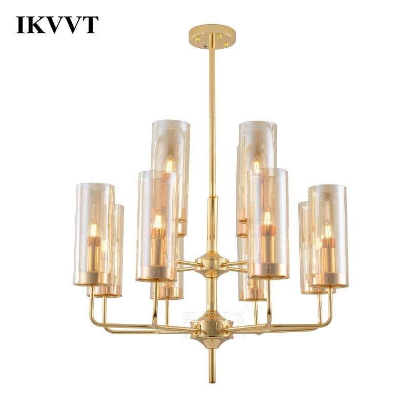 IKVVT Moderne E27 Lampes Suspendues En Verre Métal 6/10/12 Bleu Ambre Têtes Pendentif Lampe Pour Salle À Manger salon Décor À La Maison