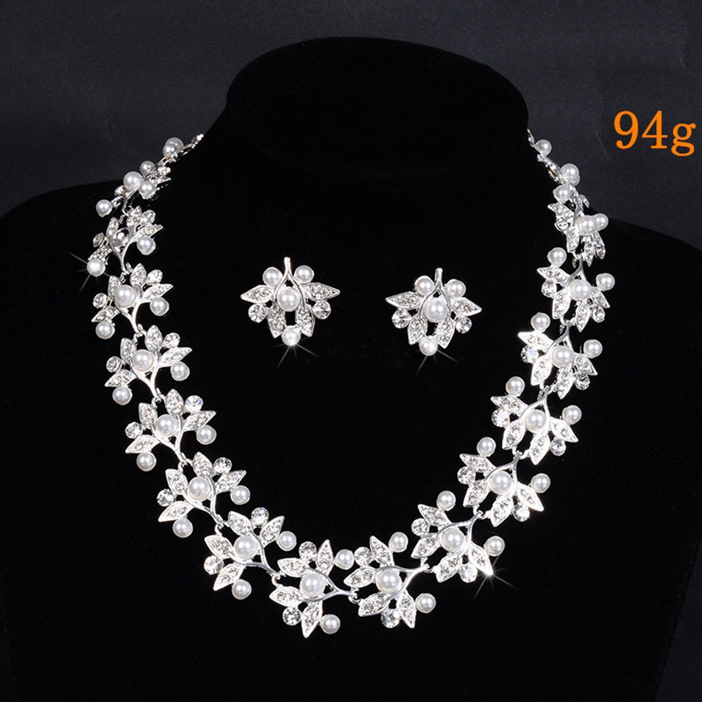 leaf flower links chain pearl necklace for women bridal jewelry set party silver plated wedding accessories opal jewels D032 (3)