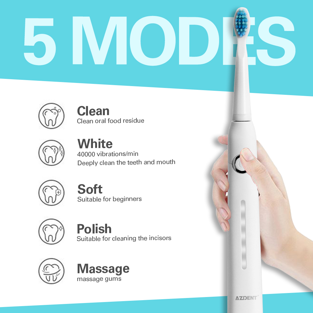 AZDENT Electric Toothbrushes AZ-9 Pro Sonic Automatic Adults Timer Tooth Brush USB Rechargeable Electric Toothbrush Travel Box