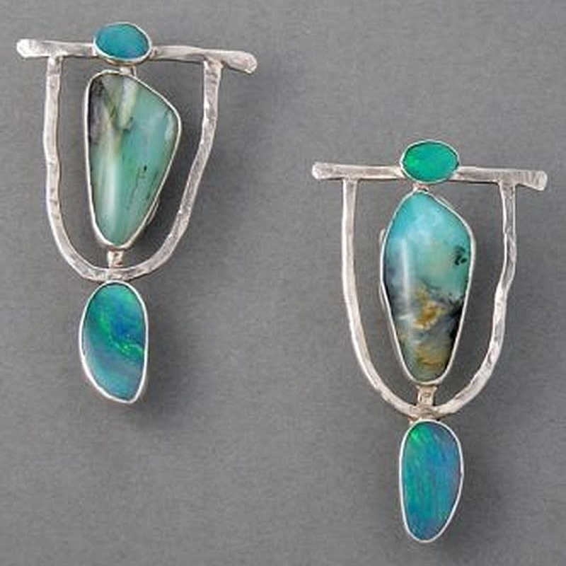 2019 Indian Nationl Personality Natural Dangle Drop Earrings Resin Stone Boho Ethnic Vintage Hanging Earrings for Women S4E680