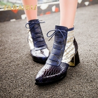 SaraIris Vintage Square Heels Pointed Toe Lace Up Breathable Lace Upper & Snakeskin Printed Summer Shoes Woman Ankle Boots
