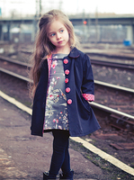 New Kid Children Girl Casual Vogue Trench Bowknot Outwear Long Sleeve Button Polka Dots Parka Jacket