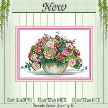 Hydrangea bouquet vase flowers painting counted printed on the canvas DMC 11CT 14CT kits Cross Stitch Embroidery needlework Sets(China)
