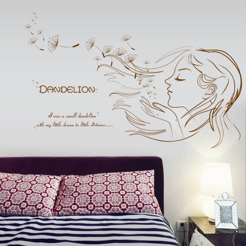 Beautiful Girl  Dandelion DIY Vinyl Wall Stickers Bedroom Living Room Home Decor Art Decals Wallpaper Decoration Sticker On Wall