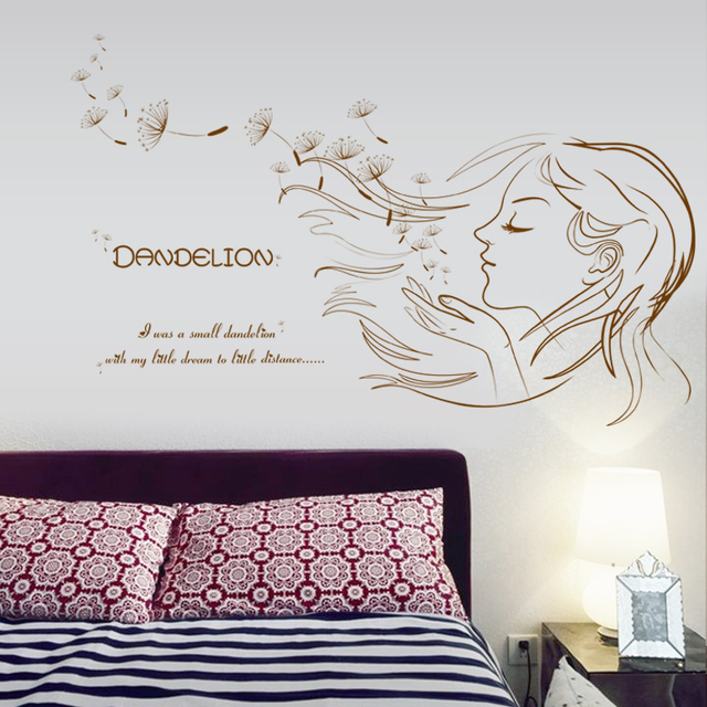 Beautiful Girl Dandelion DIY Vinyl Wall Stickers bedroom living room Home Decor Art Decals Wallpaper decoration & Beautiful Girl Dandelion DIY Vinyl Wall Stickers bedroom living room ...