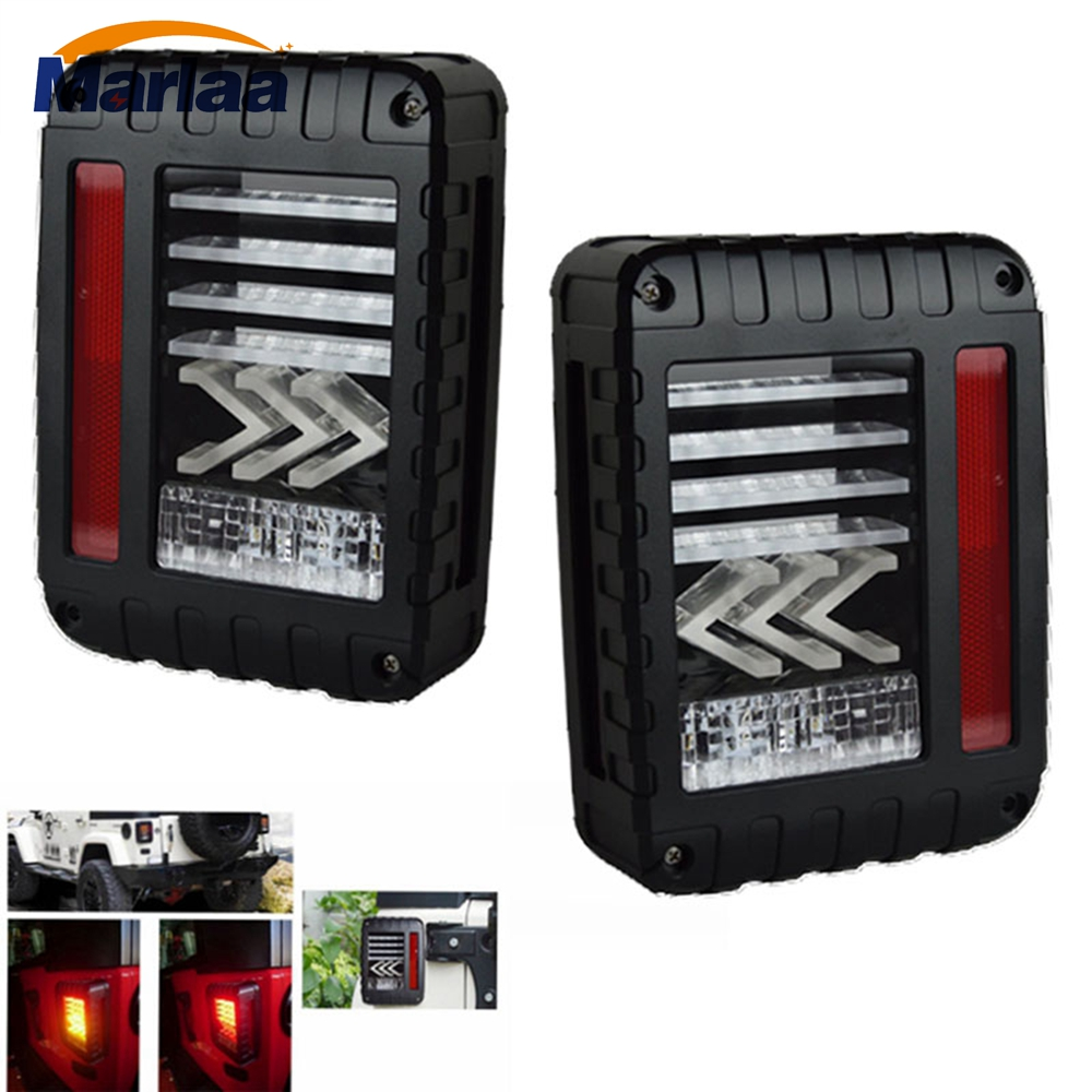LED Tail Lights for Jeep Wrangler JK 2007-2017 with Brake Backup Reverse Yellow Arrow Turning Signal Light Tail Lamp Assembly
