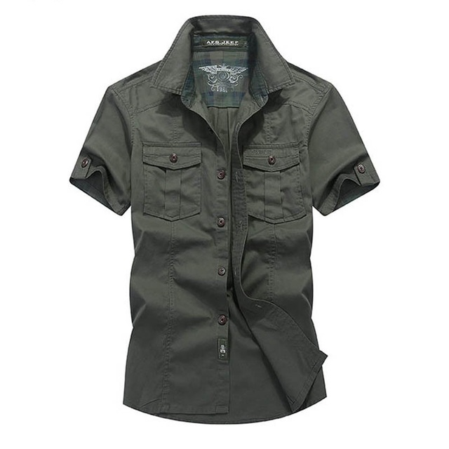 8ef1617d4 New Summer Shirt Men Solid Color Military Casual Short Sleeves Shirts Male  Cotton Breathable Chemise homme Loose Army Shirt
