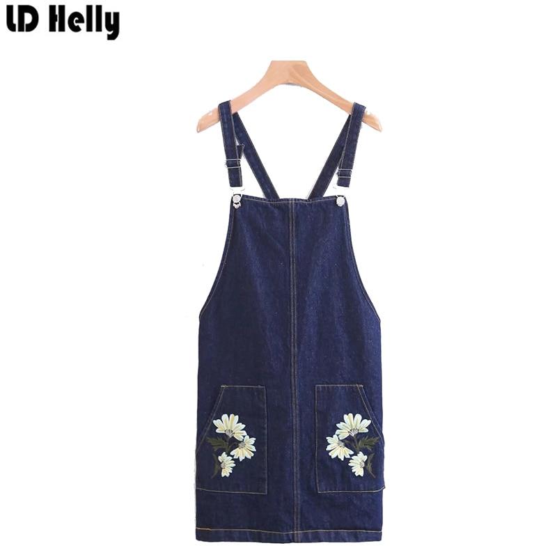 LD Helly Floral Embroidery Denim Braces Women Skirt Overalls Slim Hip Suspender Mini Women Jeans Pocket Button All-Match Skirt