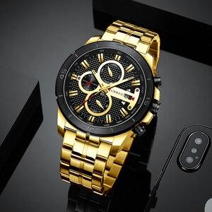 Image 3 - Curren Men Watch 2019 Top Brand Luxury Business Gold Mens Wrist Watch Chronograph Golden Man Watch 2018 Relogio Masculino