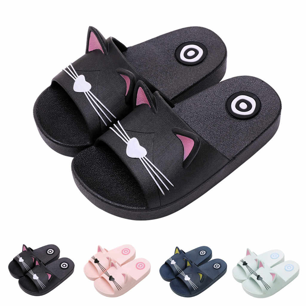 Boy Girl Cartoon Cat Shoes 2019 Summer Todder Animal Kids Indoor Baby Flip Flops PVC Kawaii Infant Beach Casual Slippers Soft