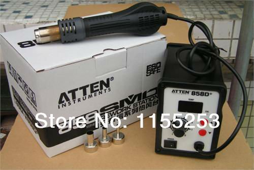 Высокое качество, бесплатная доставка 220 В ATTEN AT-858D + SMD Термовоздушная паяльная станция для пайки