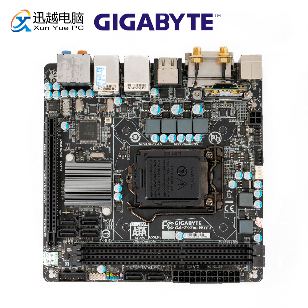Gigabyte GA-Z97N-WIFI Desktop Motherboard Z97N-WIFI Z97 LGA 1150 Core i7 i5 i3 DDR3 16G SATA3 USB3.0 DVI HDMI Mini-ITXGigabyte GA-Z97N-WIFI Desktop Motherboard Z97N-WIFI Z97 LGA 1150 Core i7 i5 i3 DDR3 16G SATA3 USB3.0 DVI HDMI Mini-ITX