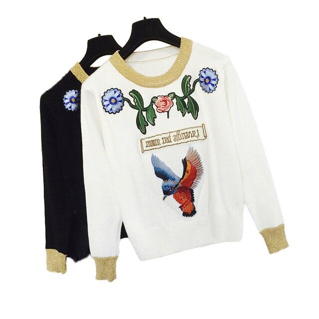 Осень зима мода свитер, джемпер женщин Тяжелая вышивка птица цветы трикотажные рубашки пуловер с длинным рукавом свитера женский топы