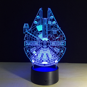 Image 4 - 2019 חדש 3D לילה מנורת מלחמת כוכבים מות קרב המילניום פלקון R2 D2 יודה BB 8 הובלת כלב סרט אוהדי ילד תאורה מתנה