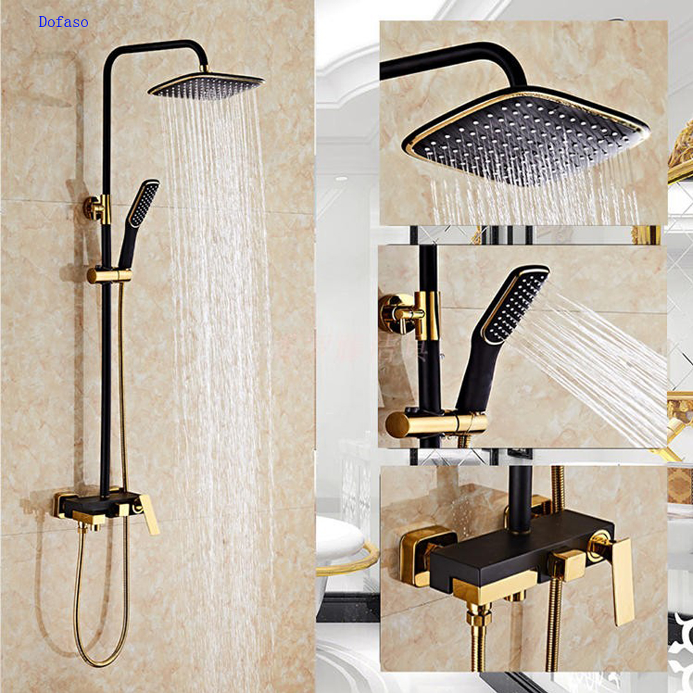 Dofaso antique bath shower mixers Bathroom Luxury black Golden Rainfall Shower Set With hand shower faucets