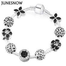 Здесь можно купить  JUNESNOW Sliver Plated Jewelry European Charm Rose Beads European Pandora Bracelets for Women Gift