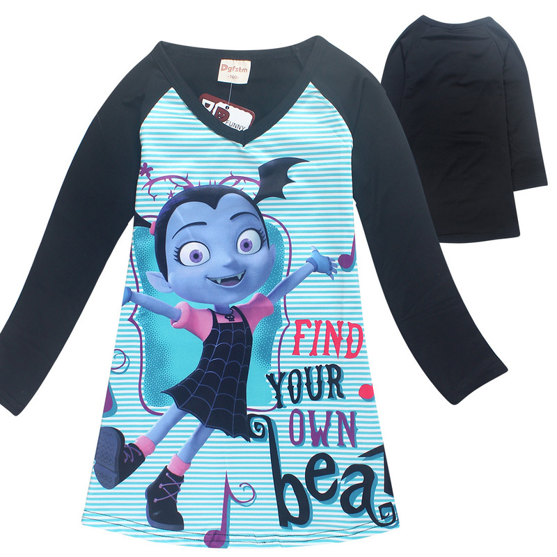 Vampirina Long Sleeve Nightgown for Girls Princess Birthday Party Dresses Children Easter Clothing Kids Girl Sleepwear Dress 8 9 fashion 2016 new autumn girls dress cartoon kids dresses long sleeve princess girl clothes for 2 7y children party striped dress