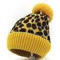 Взрослые/детские зимние шапки с помпоном, флисовая вязаная меховая шапка, милые шапки для девочек, желтые, хаки, красные, леопардовые Лыжные ...