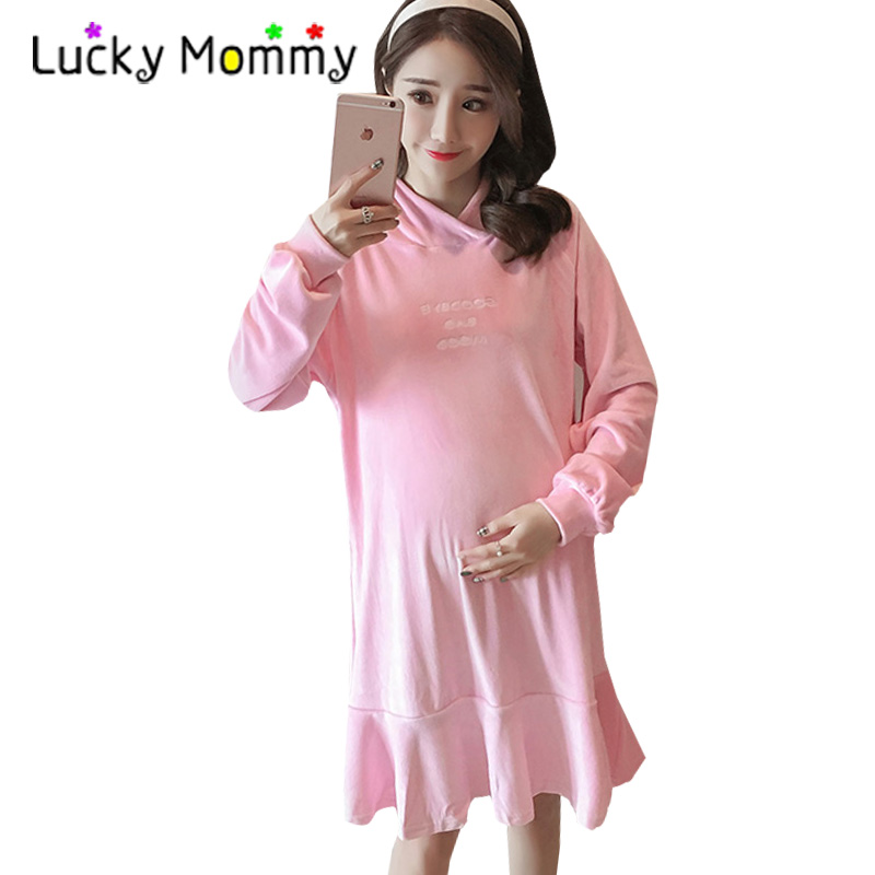Winter Maternity Dresses Embroidery Letters Mink Velvet Warm Clothes for Pregnant Women Pregnancy Hoodies Hooded Maternity-dress