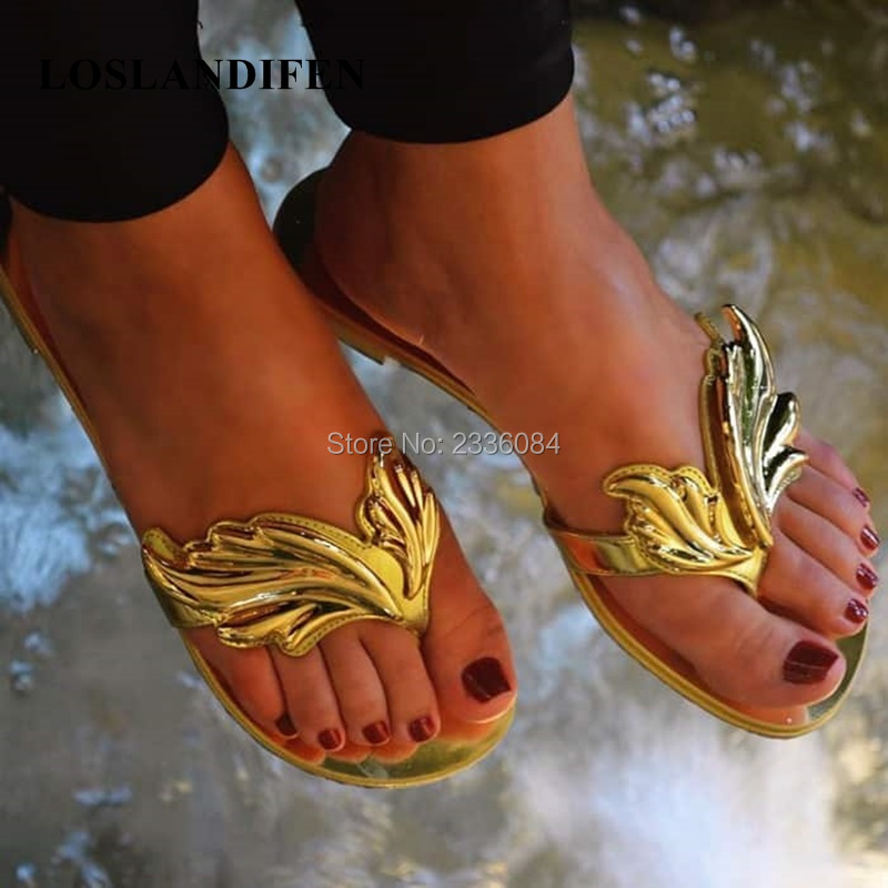 9c3adf198be45 ... ladies flame silver sandals big beach 2018 women golden beige new 43  red simple flip Europe ...