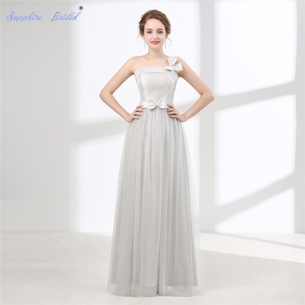 Sapphire Bridal Vestido De Noiva Simple Beach Wedding Dress White Ivory Silver Grey One Shoulder trap Long Boho Bridal Gown