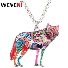 WEVEINI Statement Alloy Enamel Wolf Choker Necklace Chain Pendant Collar Fashion Wild Animal Jewelry For Women Girls Accessories(China)