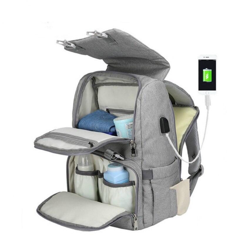 2 en 1 maternité Nappy sac USB sac à langer bébé Nappy matelas à langer voyage sac à dos momie soins infirmiers sac à main Bebes couche B