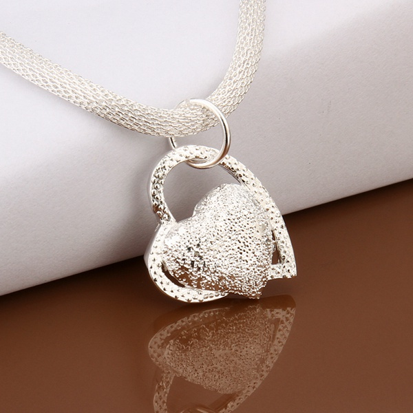 silver color gorgeous charm fashion charm heart wedding lady love necklace noble luxury 18 inches Silver jewelry , N270 9