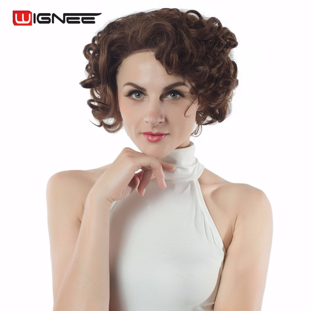 Wignee Short Lace Front Synthetic Women Cut Bliss Wigs Glueless Mixed Brown Blonde Natural Hair Short Curly Wig For Black Women
