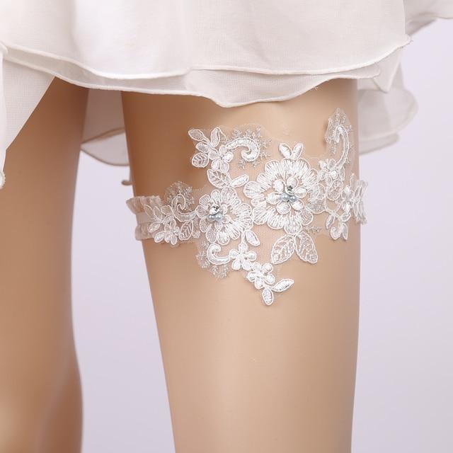 Wedding Garter Blue Rhinestone White Embroidery Floral Sexy Garters for  Women Female Bride Thigh Ring Bridal Leg Garter 378b3a5d4c2a