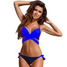 2018 Sexy Bikini Women Swimsuit Push Up Swimwear Criss Cross Bandage Halter Bikini Set Beach Bathing Suit Swim Wear XXL lace up tribal print criss cross bikini set