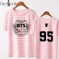 bts summer t shirt women casual 2016 korean top loose couple clothes striped letter print female t-shirt lovers tee short sleeve