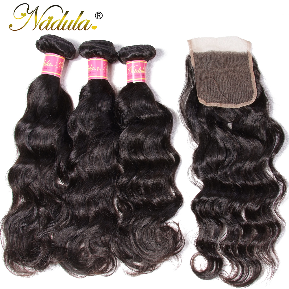 Nadula Hair 3pcs lot Brazilian Natural Wave Closure 4 4 Free Part Lace Closure With 3