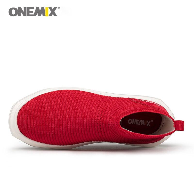 Onemix di lavoro a maglia calzino della caviglia stivali di alta altezza crescente di vita scarpe da passeggio per le donne scarpe da ginnastica femminile tenere in caldo slip on - 2