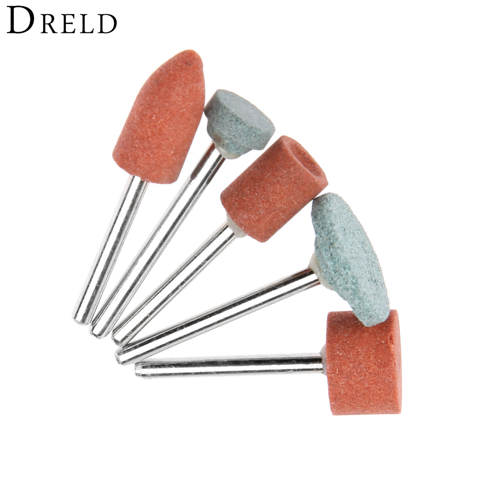 DRELD 5Pcs Dremel Accessories 3mm Shank Grinding Wheel Head For DIY Grinding/Polishing Wood/Mental/Mould Electric Mini Grinder