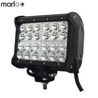 Marloo 7Inch Quad Row 72W Off Road LED Work Light Bar Fog Light For Jeep Cabin